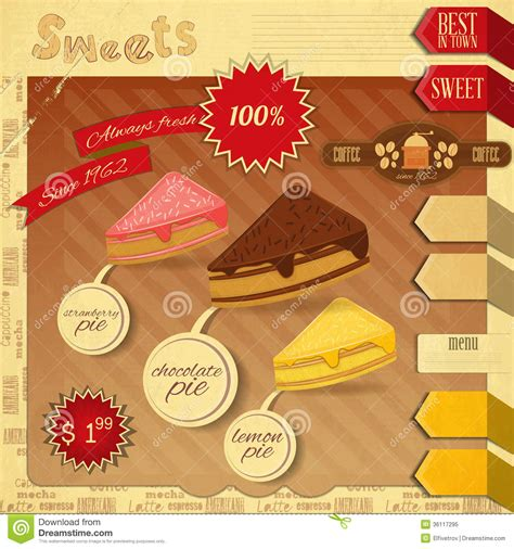 Cute Kitchen Ideas cafe confectionery menu retro design royalty free stock