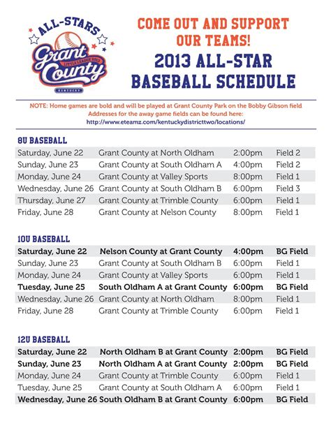 baseball schedule template free grant county ky league all baseball schedule