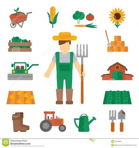 imagenes vectoriales gratuitas farmer land icons flat stock vector image 50165894