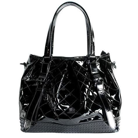 Burberry Patent Ashcombe Clutch Handbag by Burberry Patent Leather Lowry Tote