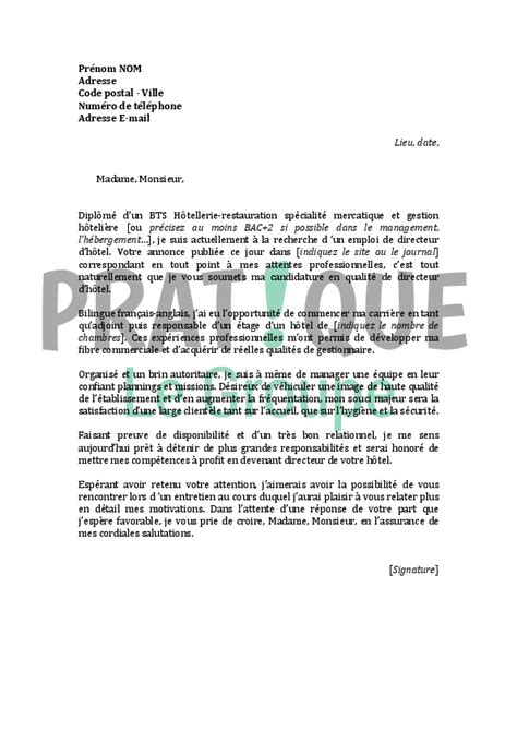 Lettre De Motivation Candidature Spontanée Hotellerie Restauration Modele Lettre De Motivation Hotellerie Document