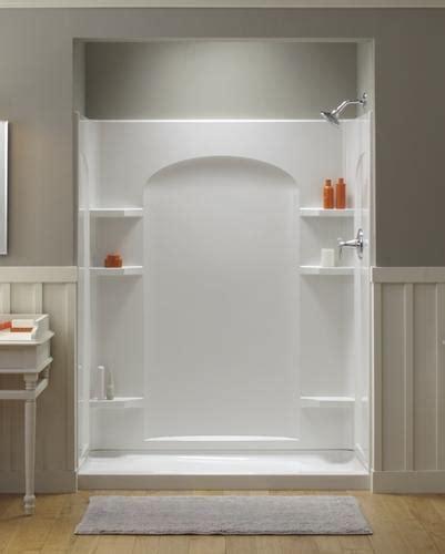 menards bathroom showers ensemble 60 quot x 30 quot end drain high gloss shower stall left
