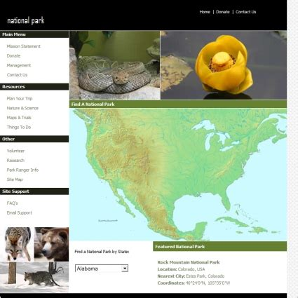 park template national park template free website templates in css html