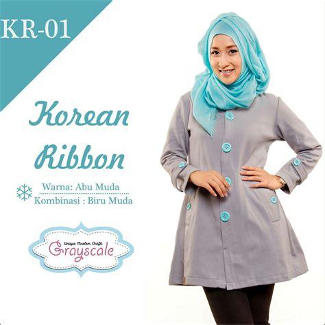 Jaket Korean Ribbon 11 Grayscale Size Xxxl jaket terbaru wanita muslimah kr01
