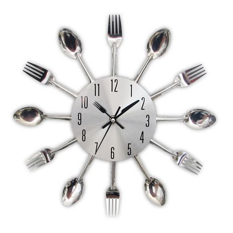 Cutlery Kitchen Wall Clock by 2017 New Modern Kitchen Wall Clock Sliver Cutlery Clocks