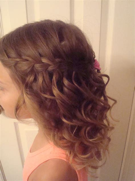 spiral curls waterfall braid cute girls hairstyles waterfall braid with curls my hair portfolio pinterest