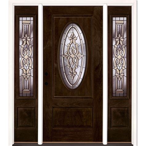 Oval Glass Doors Feather River Doors 59 5 In X81 625in Silverdale Patina 3 4 Oval Lt Stained Chestnut Mahogany Rt