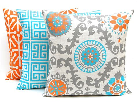 turquoise and orange home decor orange throw pillow covers three orange and turquoise