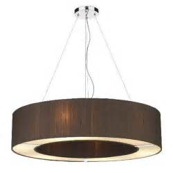 circular nutmeg brown silk ceiling pendant light with diffuser