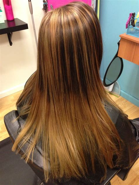 best blonde caramel highlights with ombre chunky caramel highlights fading into ombr 233 what am i