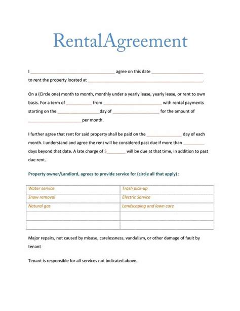 landlord rental contract template tenant rental lease agreement simple landlord letter to