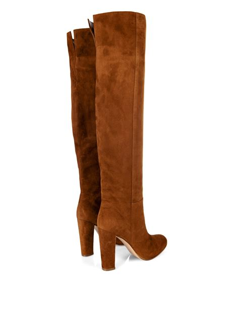 gianvito suede boots gianvito suede knee high boots in brown lyst