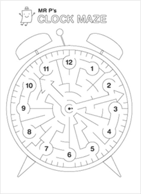 printable clock puzzle printable mazes mr printables