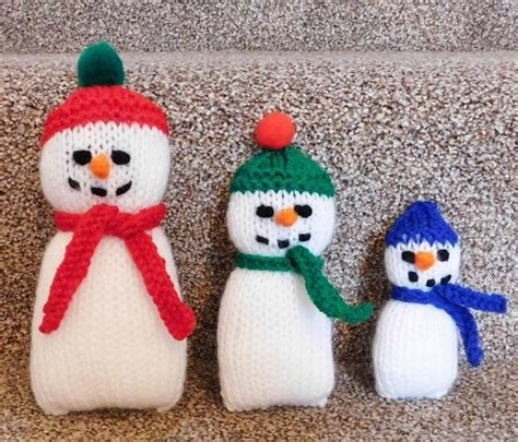 how to knit a snowman pattern adorable knitted snowman family allfreeknitting