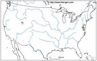 blank map of united states with major rivers