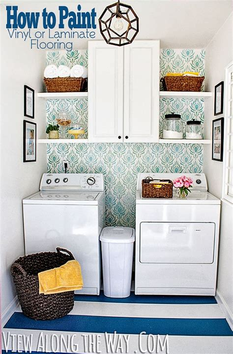 how to paint vinyl or laminate flooring laundry room