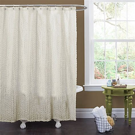 ivory shower curtain buy rosely shower curtain in ivory from bed bath beyond