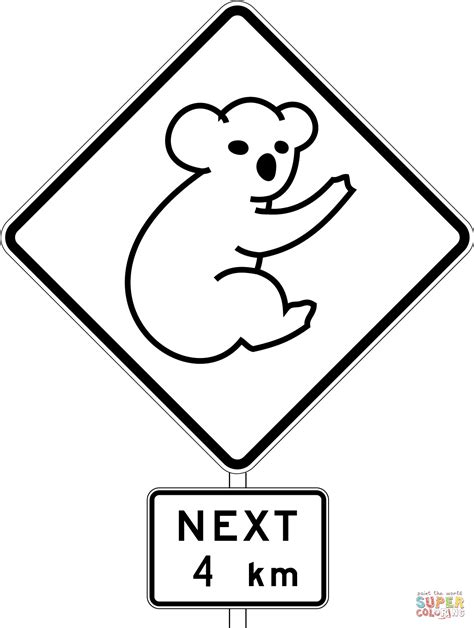printable australian road signs australia road sign with koala coloring page free
