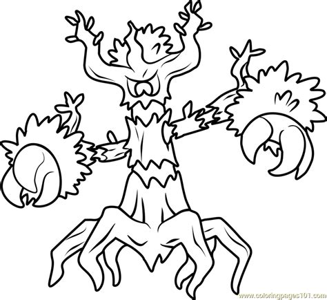Trevenant Pokemon Coloring Page Free Pok 233 Mon Coloring Colouring In