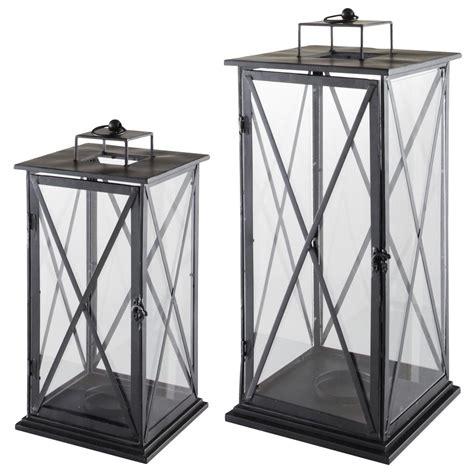 2 lanternes en m 233 tal h 57 cm et h 68 cm comes maisons du