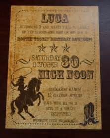 vintage inspired cowboy invitation west by
