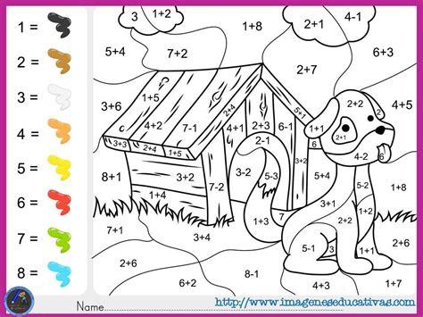 imagenes educativas para imprimir y colorear fichas de matematicas para sumar y colorear dibujo 5 1