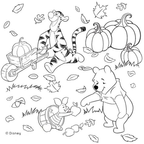 winnie pooh friends fall coloring disney family thanksgiving craft