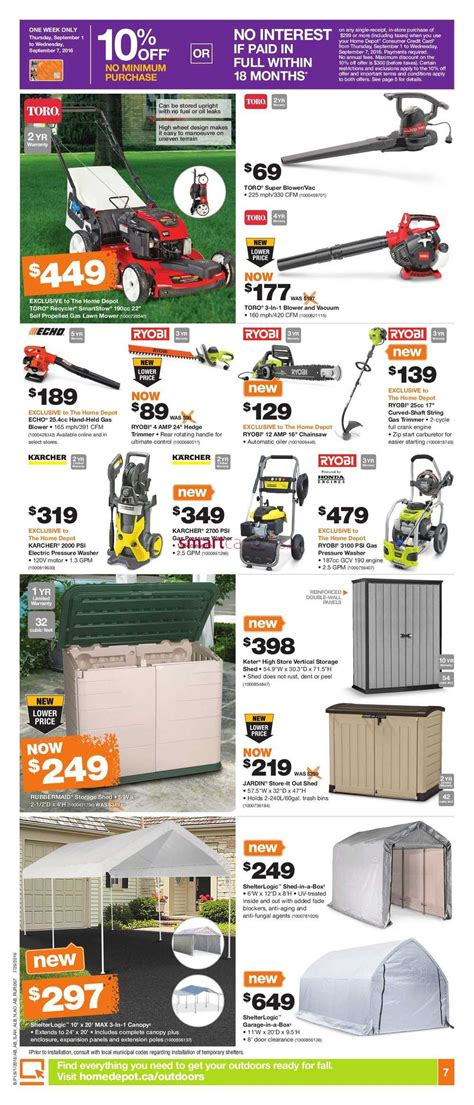 home depot west flyer september 1 to 7