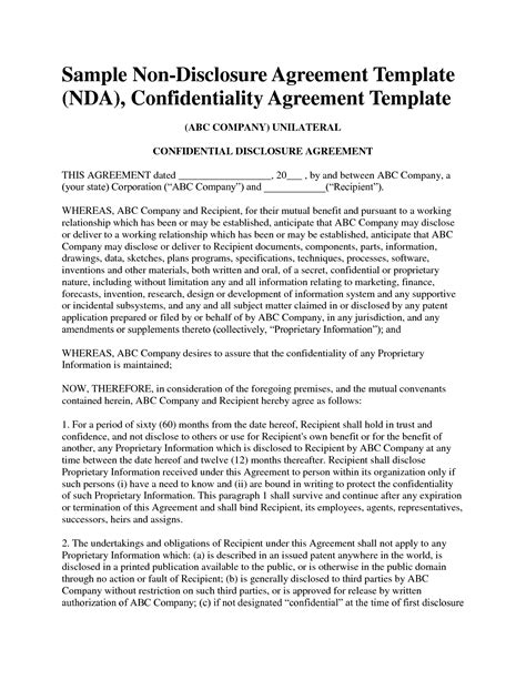 free nda template non disclosure agreement template free sle nda template