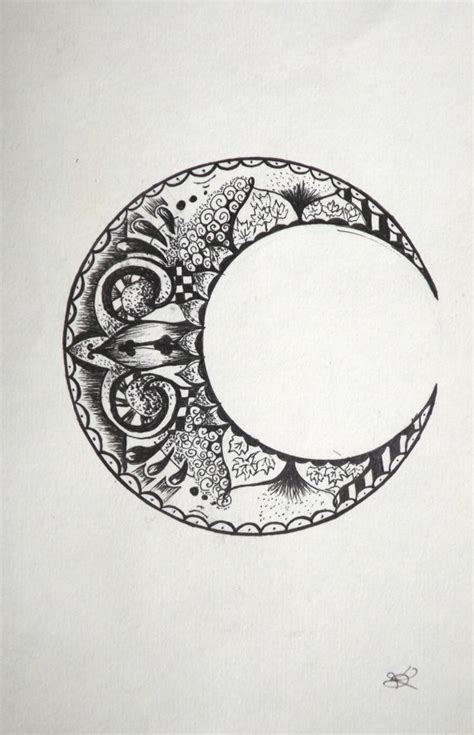 items similar to original drawing of crescent moon black