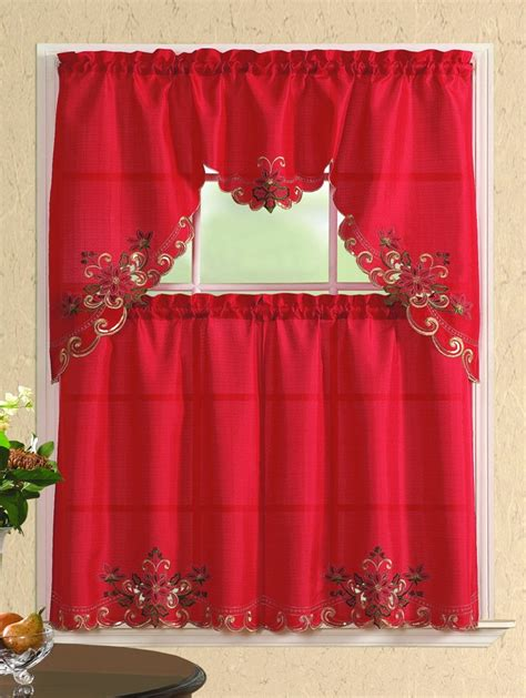 kitchen curtains sets promo embroidered 3 kitchen curtain set