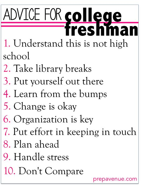 8 Tips For College Students by Advice For College Freshman Prep Avenue