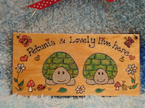 Handmade Tortoise Table - 2 character personalised tortoise flat plaque sign for