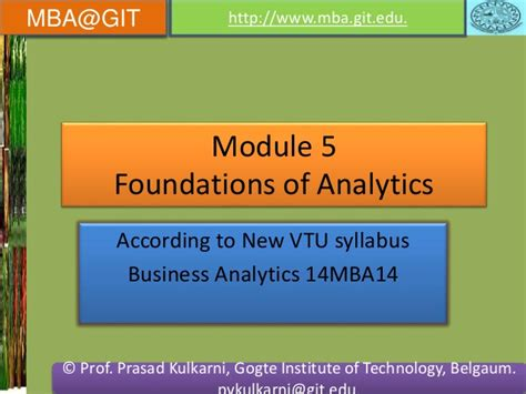 Mba Marketing Analytics by Business Analytics Module 5 14mba14 According To New Vtu