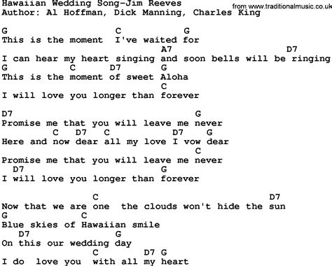 Wedding Song Lyrics And Chords by Country Hawaiian Wedding Song Jim Reeves Lyrics And