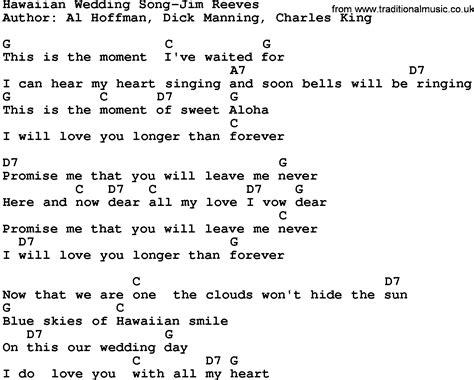 Wedding Song Tab by Country Hawaiian Wedding Song Jim Reeves Lyrics And