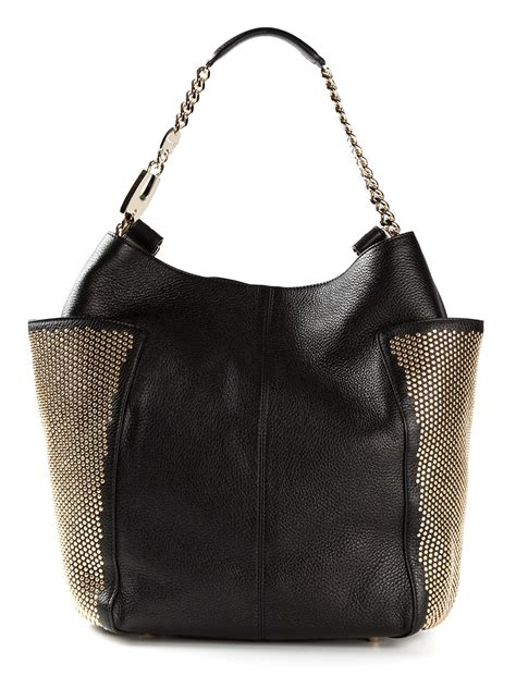 Jimmy Choo Belted Tote by Lyst Jimmy Choo Studded Tote In Black
