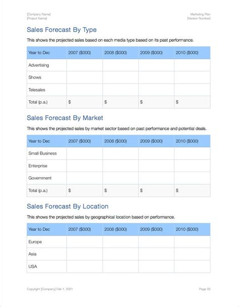 marketing forecast template marketing plan apple iwork