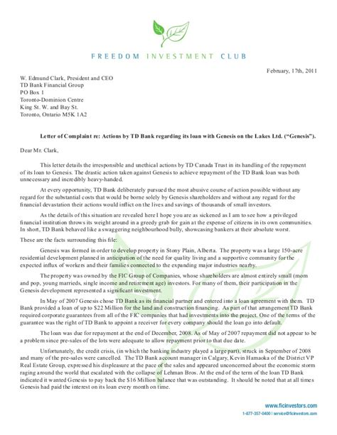 Complaint Letter Exle To Bank Michael Lathigee Writes Letter Of Complaint To Td Bank