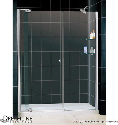 Shower Base And Doors Dreamline Frameless Pivot Shower Door 30 Quot X 60 Quot Shower Base Center Drain Modern