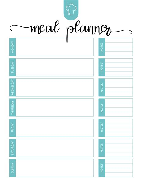 dinner planning template