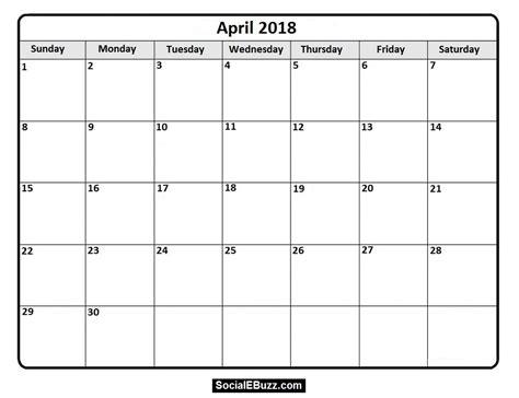 april si鑒e social april 2018 calendar printable template with holidays pdf