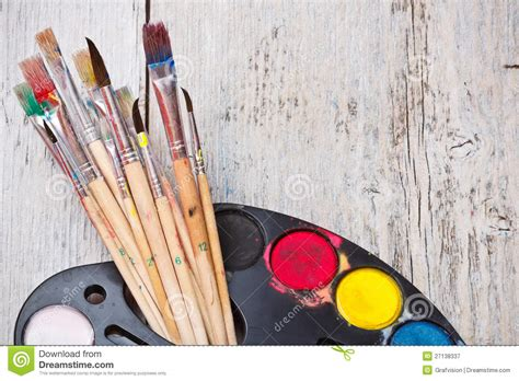 painting with brush watercolor paint with brush royalty free stock photography