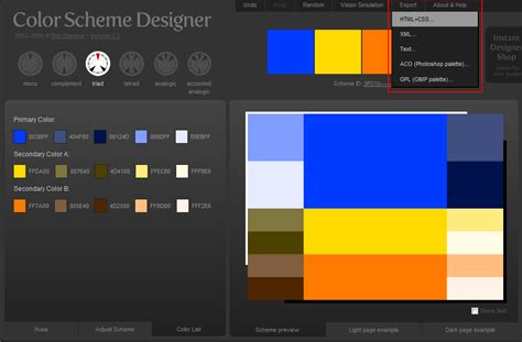 scheme creator 完整 專業 但使用卻很 easy 的線上調色工具 color scheme designer 免費軟體 素材