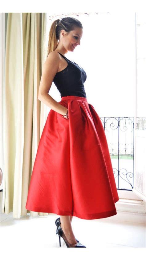imagenes retro midi exclusiva falda midi roja faldas dresseos pinterest