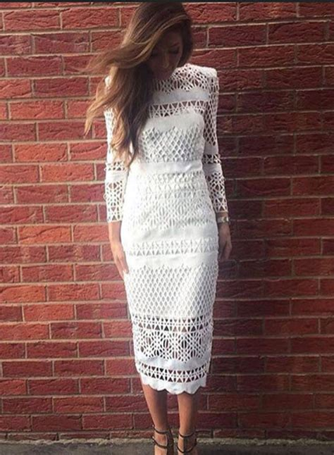Hollow Out Lace Dress sleeve lace hollow out bodycon midi dress oasap