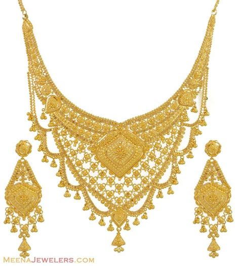 gold for jewelry gold necklace and earrings set 22kt indian jewelry with