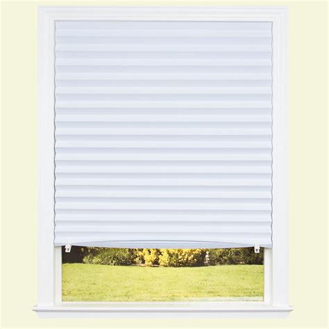 white pattern l shade redi shade white fabric light blocking pleated shade 48