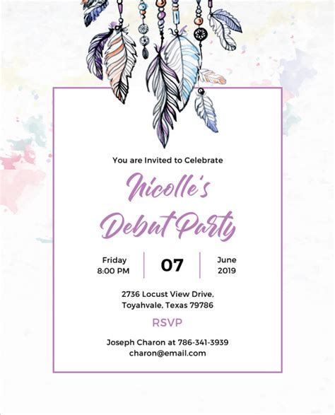 templates for debut invitations debut invitation template 28 free word pdf psd format