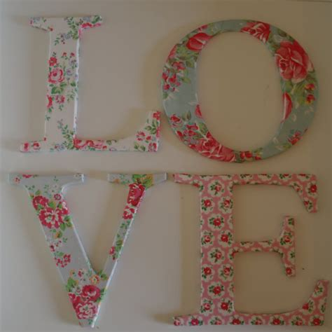 How To Make Decoupage Letters - letters decoupage with cath kidston paper shabby chic